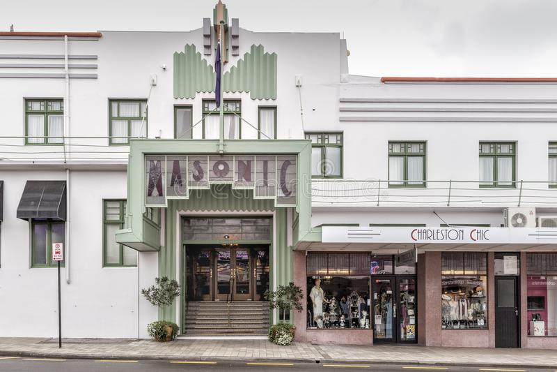 Art Deco Masonic Hotel a Napier, Nuova Zelanda immagine stock libera da diritti