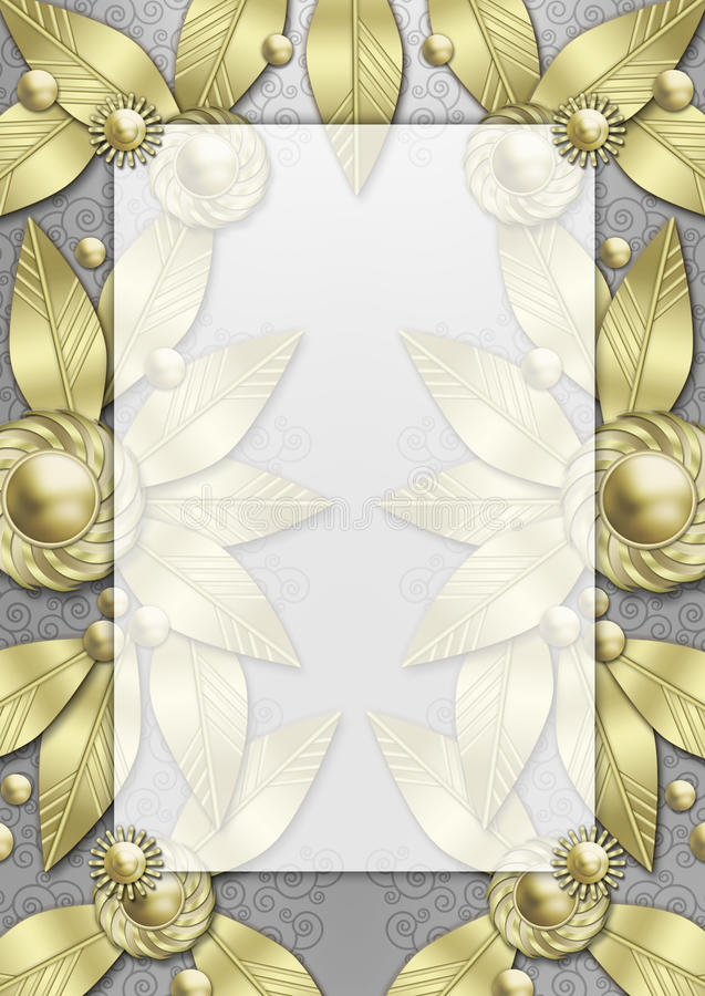 Art Deco Metallic Leaf frame vector illustration