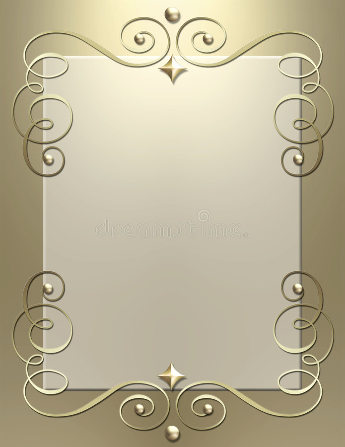 Art Deco metallic swirl frame stock photos