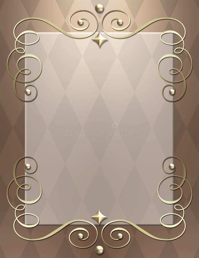 Art Deco metallic swirl frame stock photo