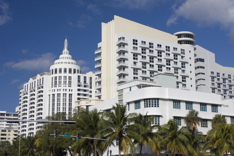 Art Deco modern buildings in Miami Beach stock images