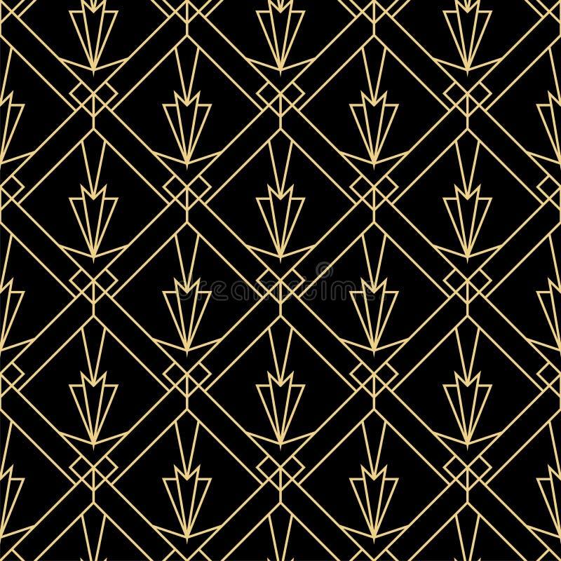 Art Deco mody bezszwowy prosty wzór Wielostrzałowy nowożytny luksusowy minimalny geometryczny linebackground Retro i rocznik ilus ilustracji