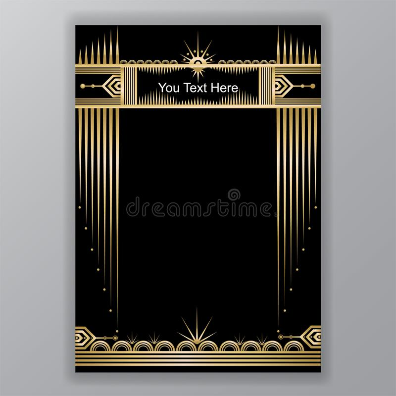 Art Deco moon and stars royalty free illustration