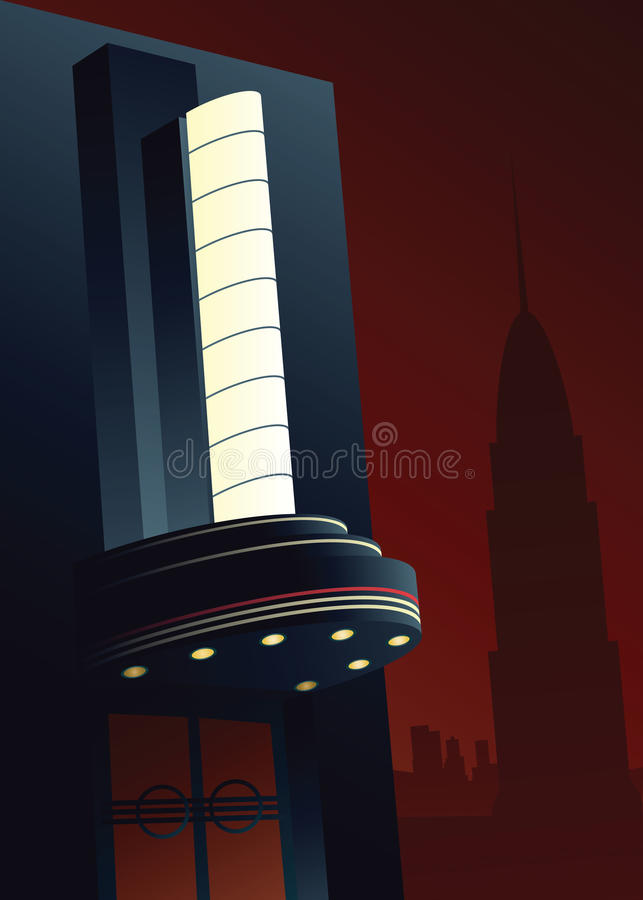 Art Deco Movie Marquee royaltyfri illustrationer