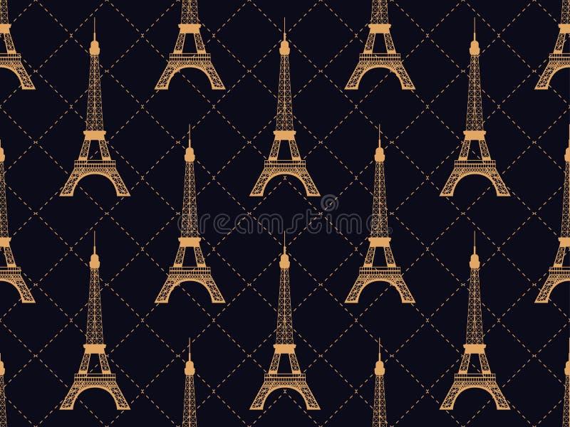Art deco naadloos patroon met de toren van Eiffel Schoon en helder ontwerp Bezienswaardigheden in Parijs, Frankrijk Stijl van de  vector illustratie