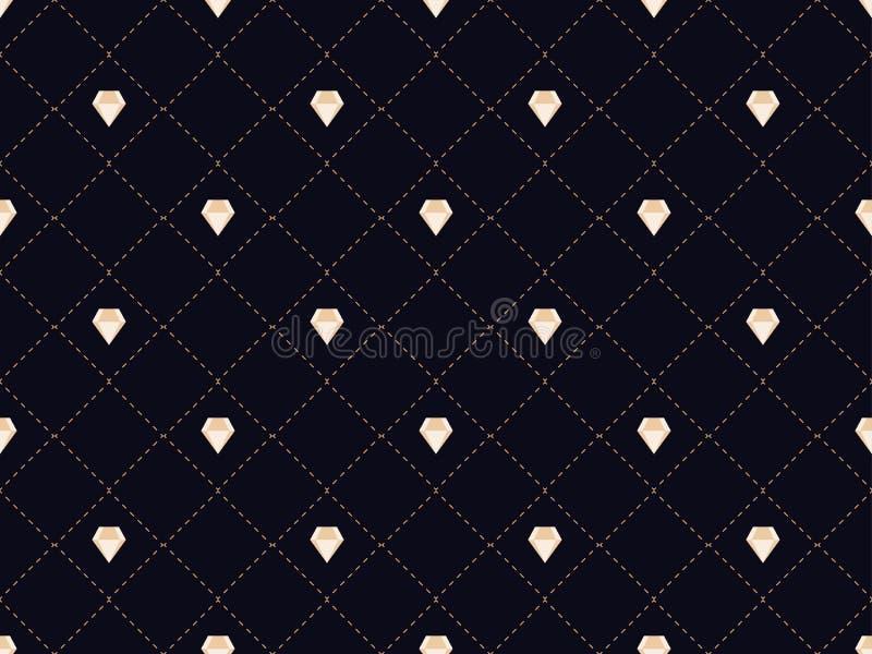 Art deco naadloos patroon met diamanten Stijljaren '20, jaren '30 Vector stock illustratie