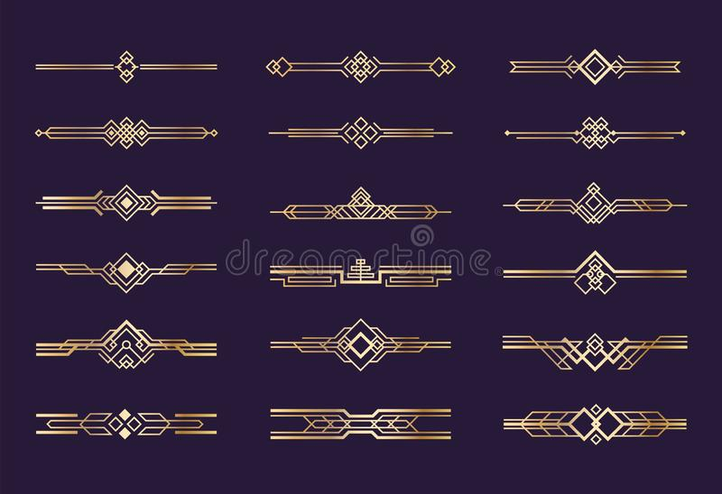 Art deco ornament. 1920s vintage gold borders and dividers, retro header graphic elements, nouveau vector geometric vector illustration