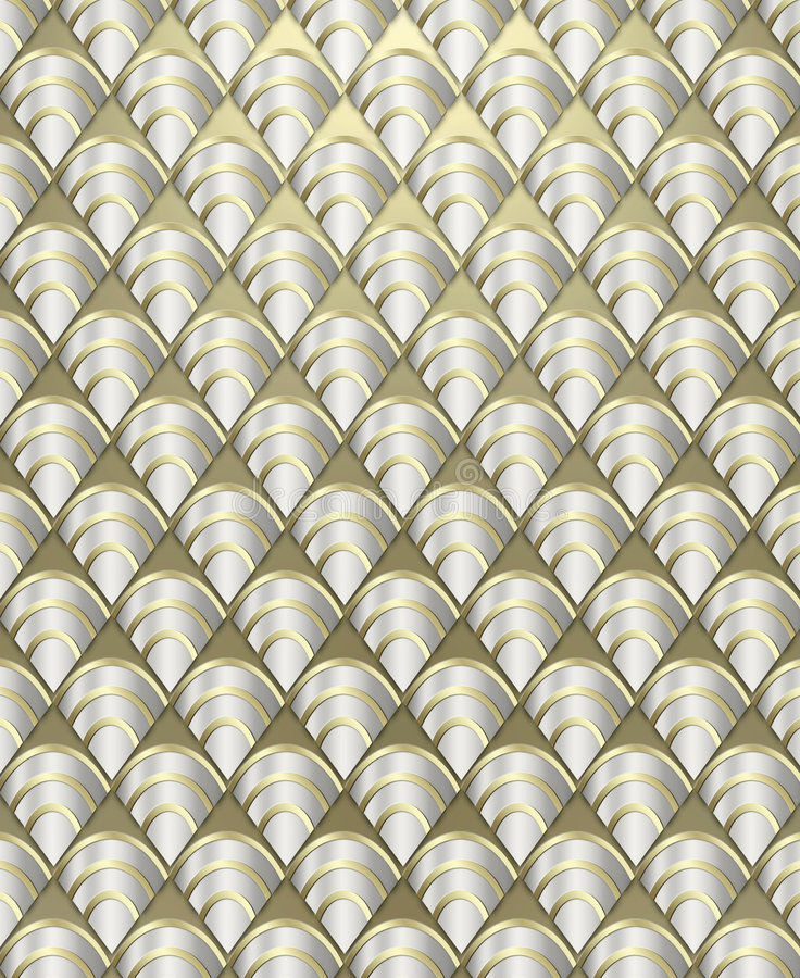 Art Deco Pattern Background. Rich, luxurious background styled after the Art Deco period done in metallic tones royalty free stock photos
