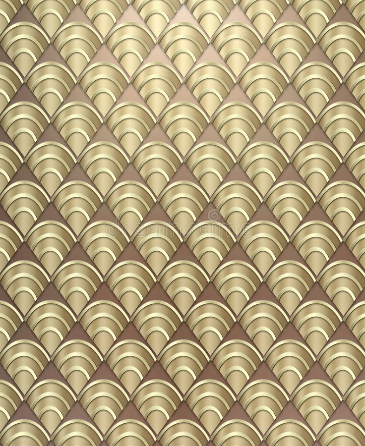 Art Deco Pattern Background. Rich, luxurious background styled after the Art Deco period done in metallic tones stock photo