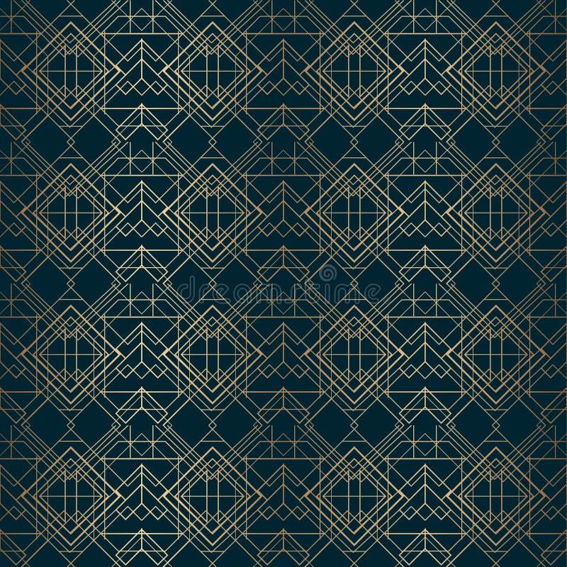 Download Art Deco Pattern Gold Lines Dark Background Stock Vector