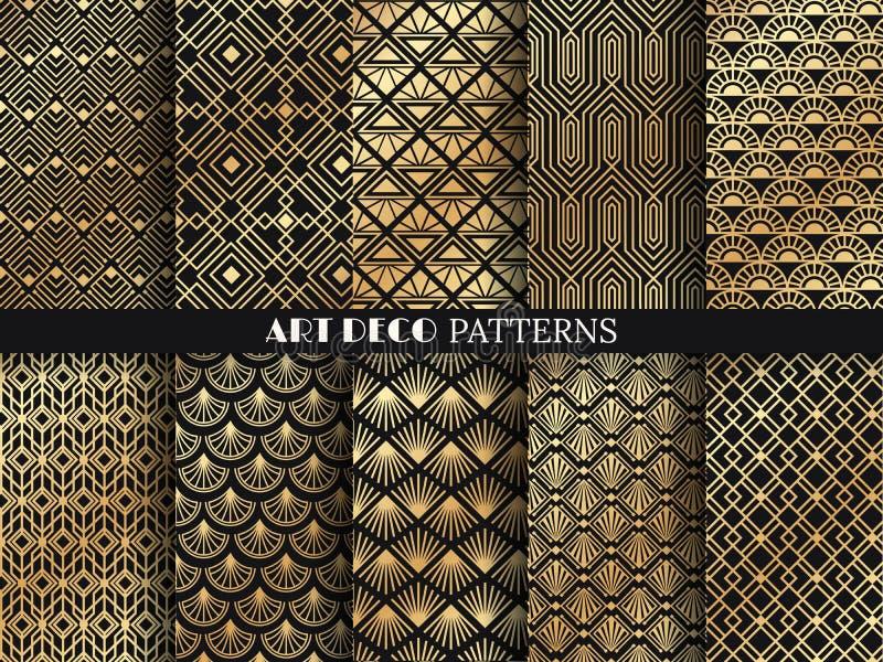 Art deco pattern. Golden minimalism lines, vintage geometric arts and deco line ornate seamless patterns vector set royalty free illustration