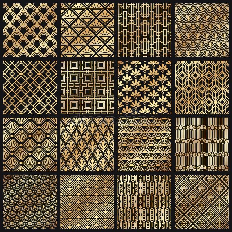 Art Deco Patterns Dekorativa guld- linjer, vinkelformig linje ram och för modellvektor för 1920 konster guld- uppsättning stock illustrationer