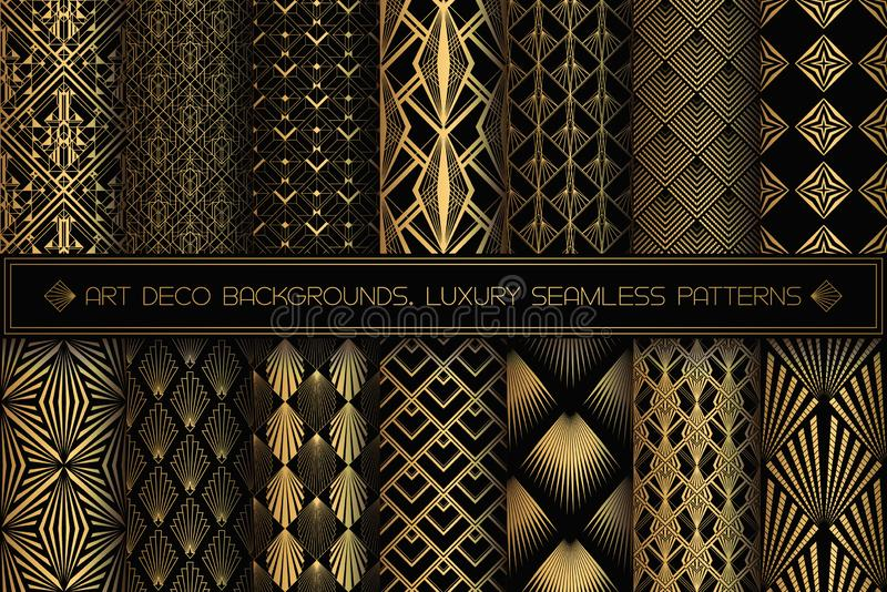 Art Deco Patterns. Seamless black and gold backgrounds. vector illustration