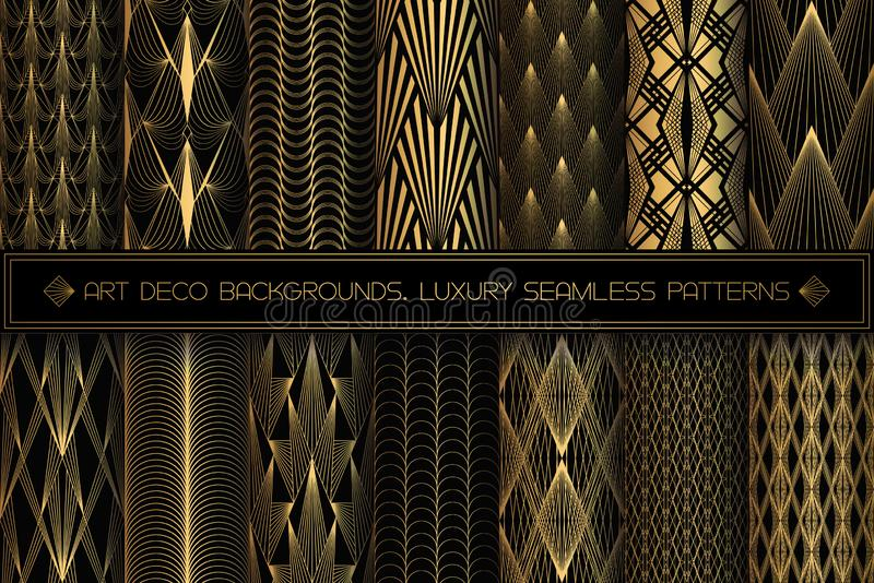 Art Deco Patterns. Seamless black and gold backgrounds stock illustration