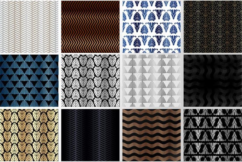 Art Deco Patterns Set Ambiti di provenienza dorati Il fan riporta in scala gli ornamenti Carte digitali decorative geometriche Li royalty illustrazione gratis