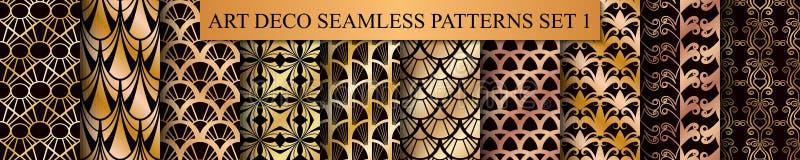 Art Deco Patterns Set. Golden backgrounds. Fan scales ornaments. Geometric decorative digital papers. Vector line design royalty free illustration