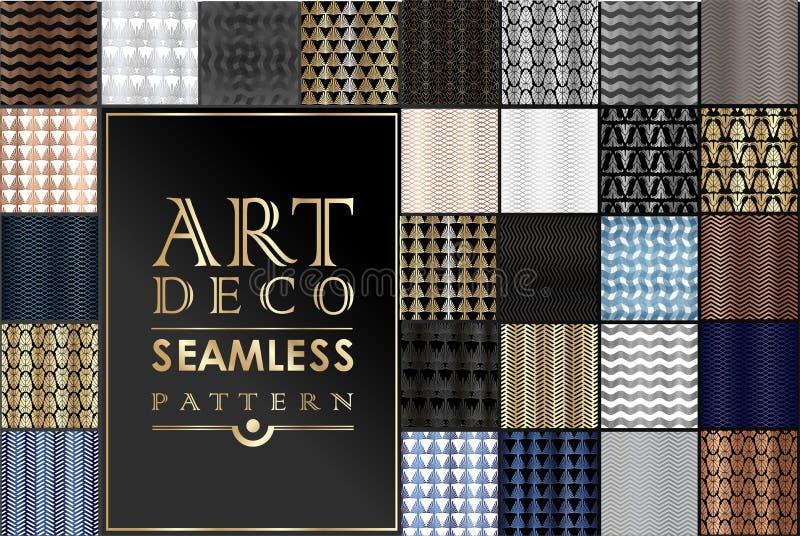 Art Deco Patterns Set guld- bakgrunder Fanvågprydnader Geometrisk dekorativ digital legitimationshandlingar Vektorlinje design vektor illustrationer