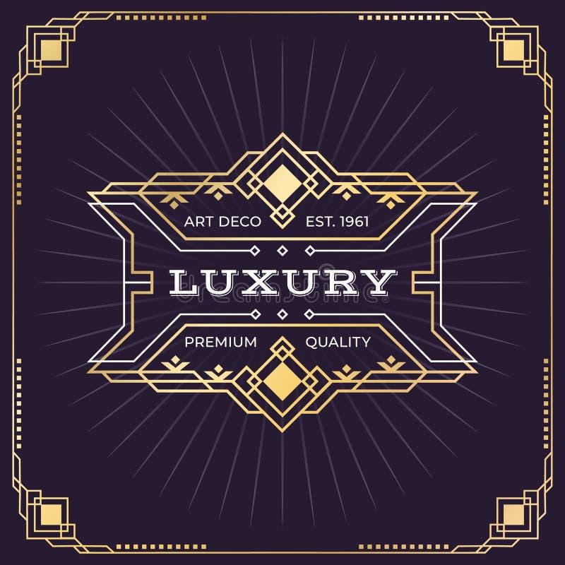 Art Deco plakat Ornamentuje ramowego sztandar, rocznika modnisia emblemat, nouveau granicy projekta szablon Wektorowy ar deco ilustracji