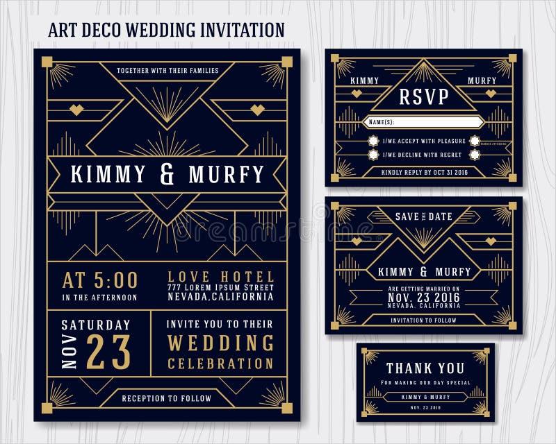 Art Deco Poślubia zaproszenie projekta szablon