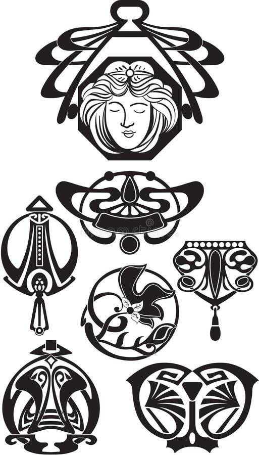 Art Deco projekta elementy ilustracja wektor