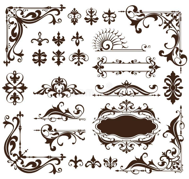 Art Deco projekta elementy rocznik ornamentują i granica kąty ramowy Odosobniony sztuki nouveau rozkwitają Prostych elementy ilustracji