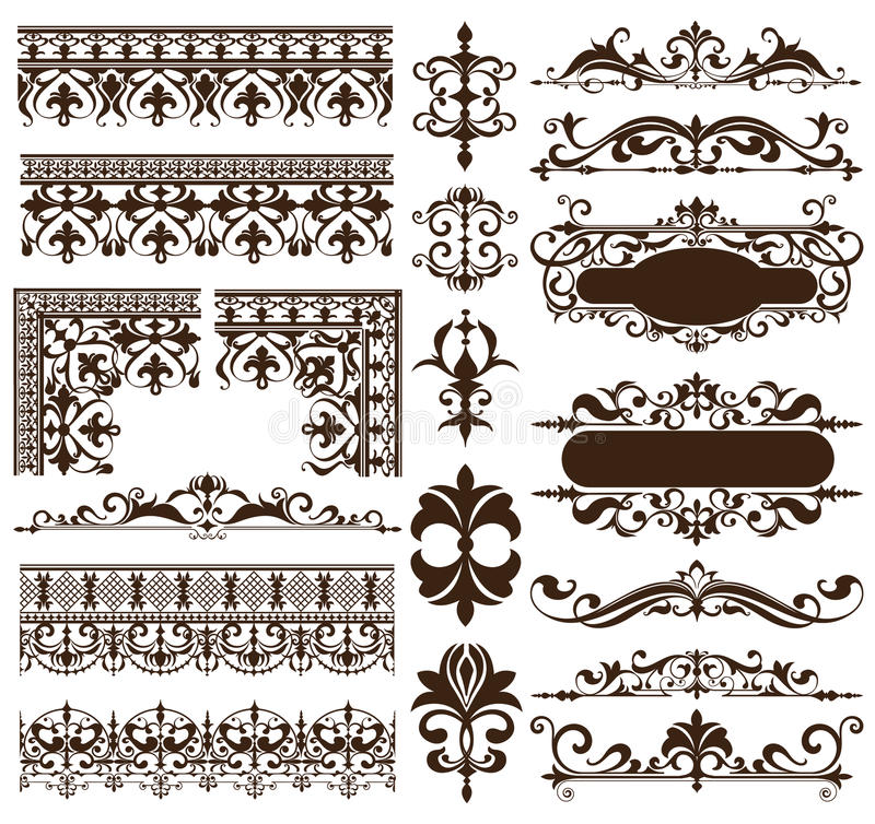 Art Deco projekta elementy rocznik ornamentują i granica kąty ramowy Odosobniony sztuki nouveau rozkwitają Prostych elementy royalty ilustracja
