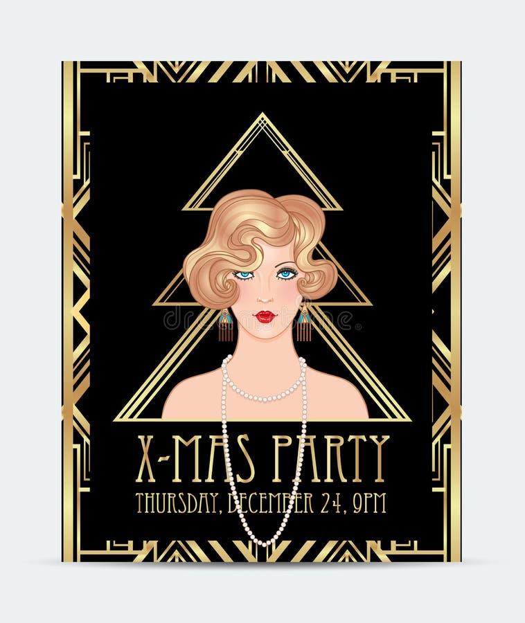 Art Deco projektuje Bożenarodzeniowego kartka z pozdrowieniami szablon Abstrakcjonistyczny vintag royalty ilustracja
