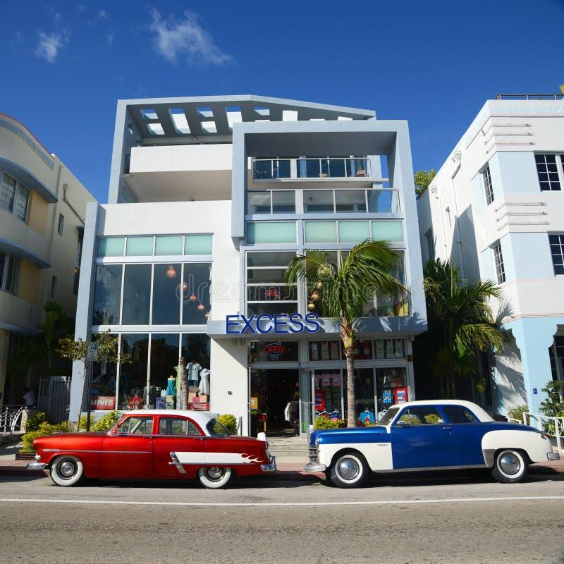 Art Deco Projektuje nadmiaru w Miami plaży zdjęcie stock