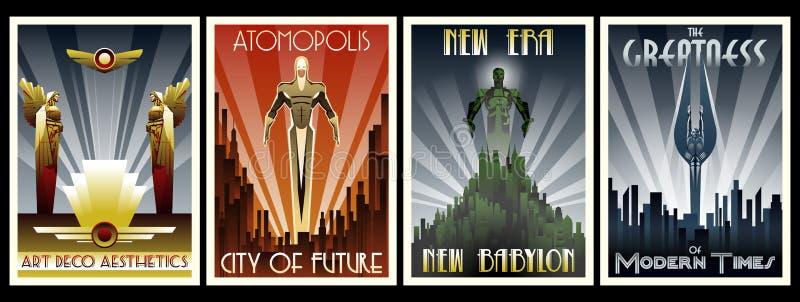 Art Deco Projektuje plakata set ilustracji