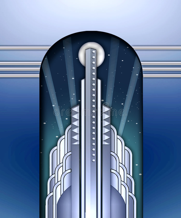 Art deco que constrói w/spotlights ilustração royalty free