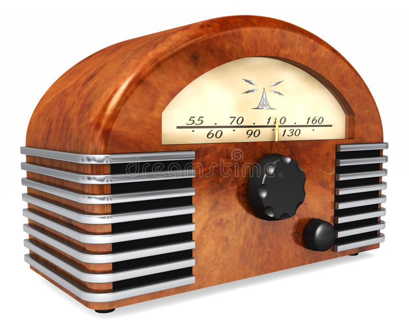 Art-Deco Radio. An art-deco style radio with antique styling isolated on a white background stock photo