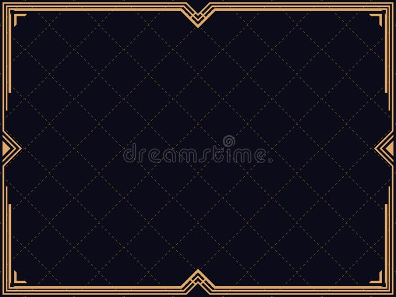 art deco rama Rocznik liniowa granica Projektuje szablon dla zaproszeń, ulotek i kartka z pozdrowieniami, royalty ilustracja