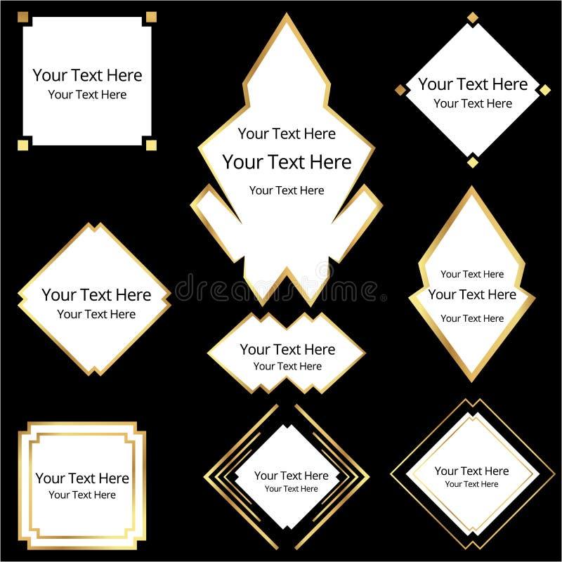 Art Deco-reeks van negen geometrische etiketten vector illustratie