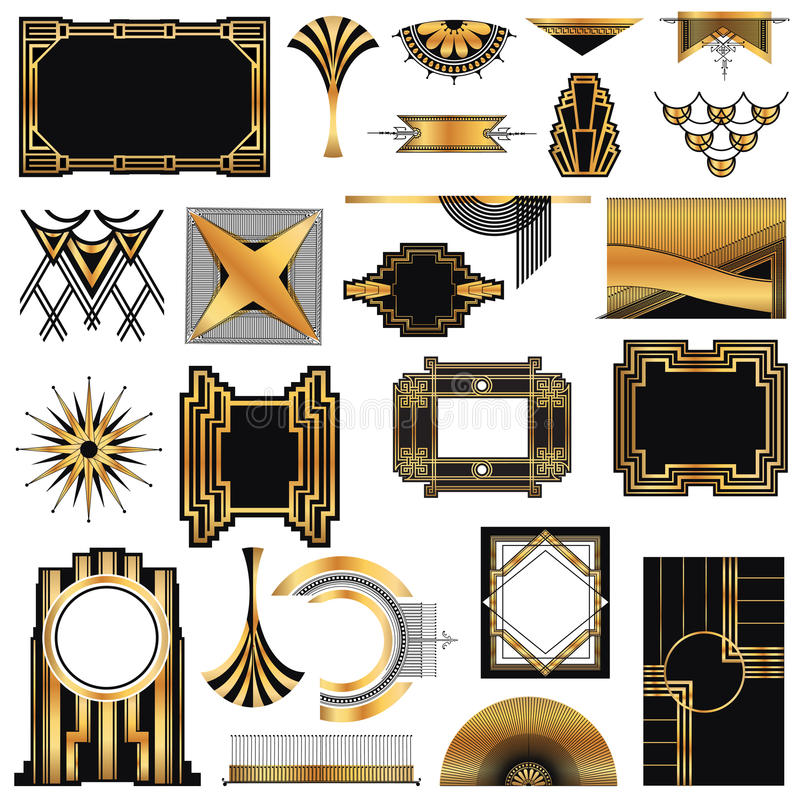 Art Deco rocznika ramy ilustracji