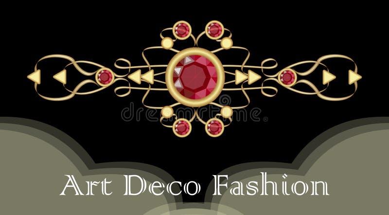 Art Deco rubinu broszka Filigree złoty klejnot w wiktoriański stylu Droga antykwarska biżuteria ilustracji