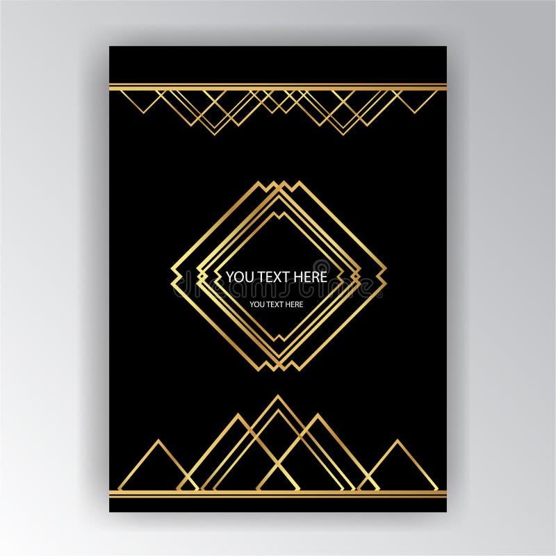 Art Deco-Schablone golden-schwarz, A4 Seite, Menü, Karte, Einladung vektor abbildung