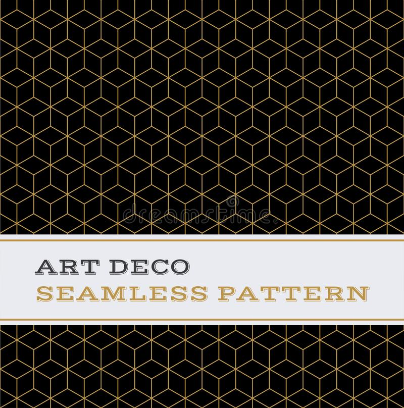 Art Deco seamless pattern black white and gold colours 11 vector illustration
