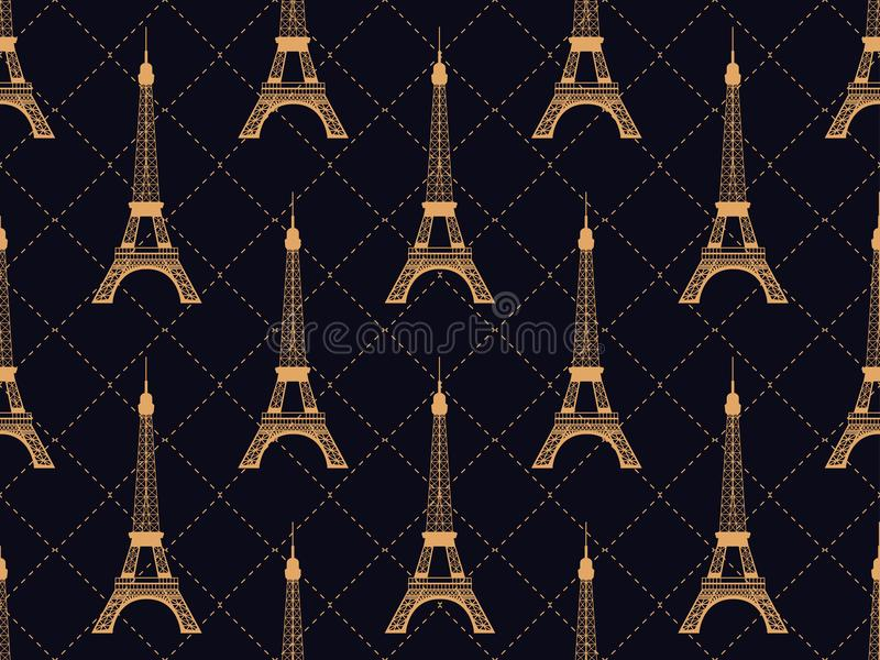 Art deco seamless pattern with eiffel tower. Gold color. Places of interest in Paris, France. Style of the 1920s - 1930s vector illustration