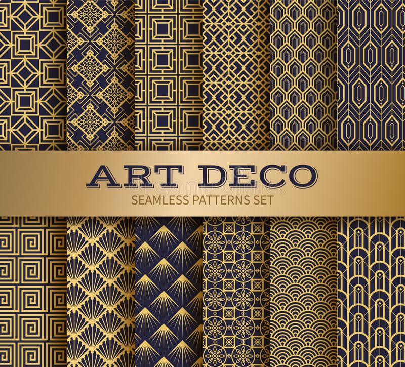 Art deco seamless pattern. Luxury geometric nouveau wallpaper, elegant classic retro ornament. Vector golden abstract stock illustration
