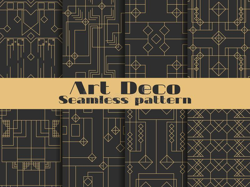 Art deco seamless pattern. Set retro backgrounds, gold and black color. Style 1920`s, 1930`s. Lines and geometric shapes. Vector. Illustration stock illustration