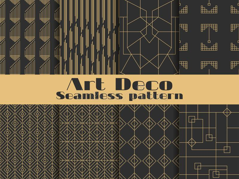 Art deco seamless pattern. Set retro backgrounds, gold and black color. Style 1920`s, 1930`s. Lines and geometric shapes. Vector. Illustration royalty free illustration