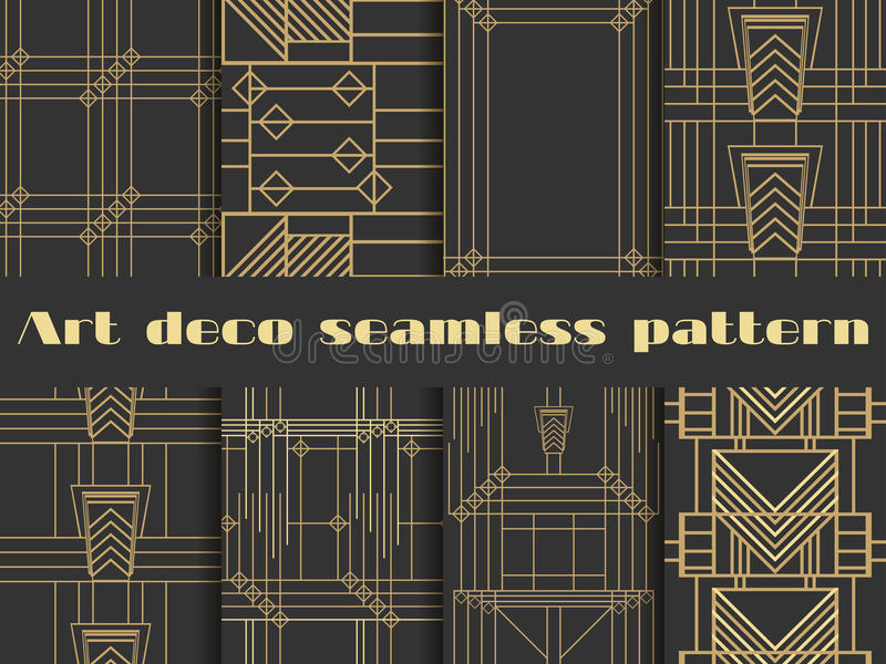 Art deco seamless patterns. Art deco geometric seamless pattern. stock illustration