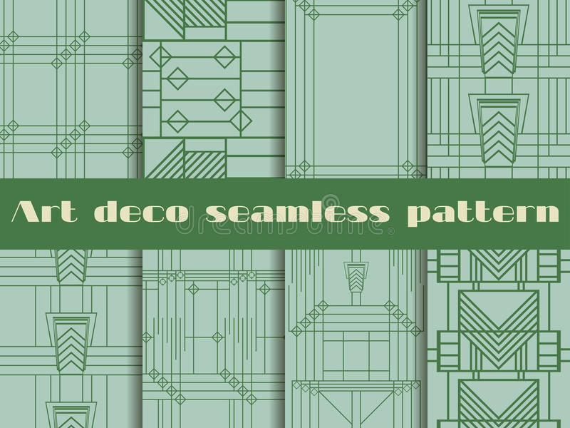 Art deco seamless patterns. The pattern of lines and geometric shapes. Style 1920's, 1930's. Vector illustration. vector illustration