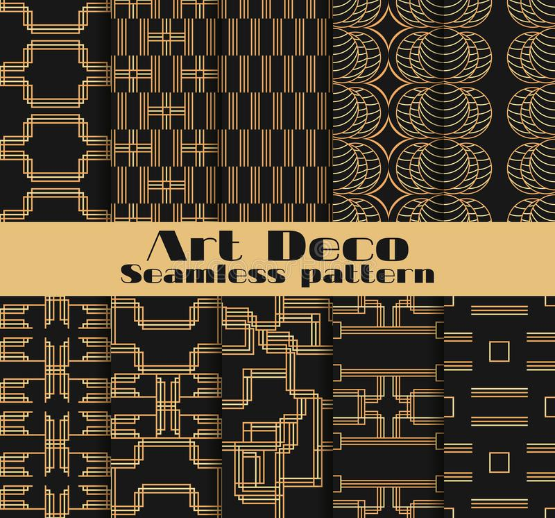 Art deco seamless patterns. Set of ten geometric backgrounds. Style 1920`s, 1930`s. Vector royalty free illustration