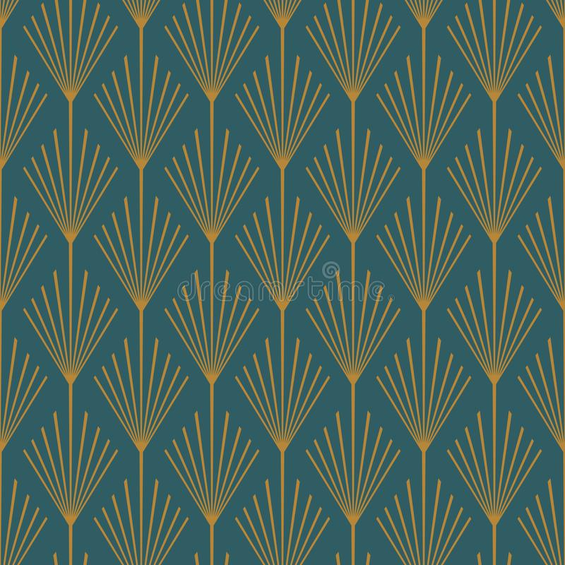 Art Deco Seamless Vector Pattern Teal and Copper royalty free stock photo