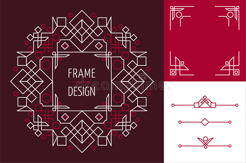 Art deco set frame abstract geometry mono line. Set of art deco mono line frame designs and lettering geometry elements. Ideal for making own greeting card royalty free illustration