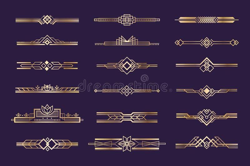 Art deco set. Vintage 1920s golden ornament, nouveau style headers and dividers, retro border element. Vector golden art royalty free illustration