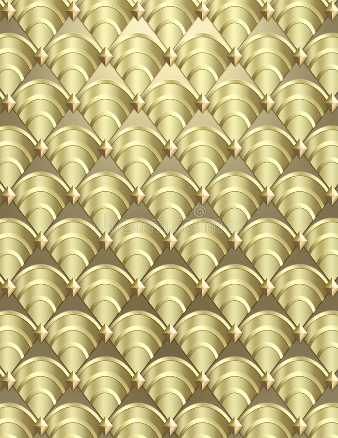 Art Deco shell Background. Modern shell pattern background styled after the Art Deco period done in metallic tones royalty free stock photos