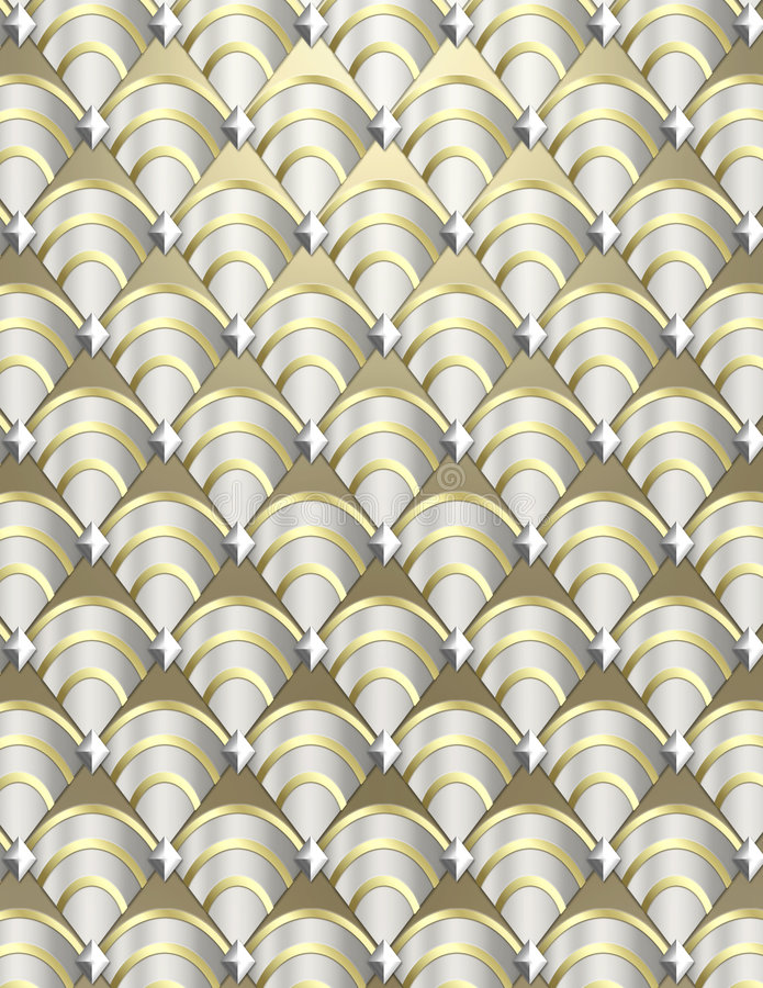 Art Deco shell Background. Modern shell pattern background styled after the Art Deco period done in metallic tones stock images