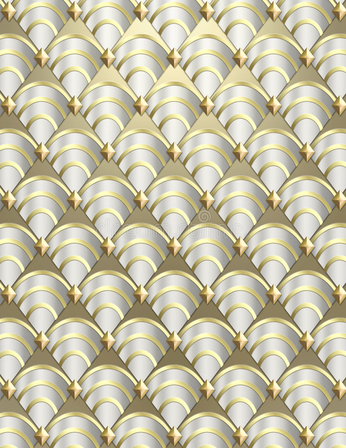 Art Deco shell Background. Modern shell pattern background styled after the Art Deco period done in metallic tones royalty free stock photography